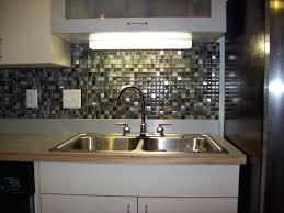 tile backsplash in kitchen ideas grey glass mosaic tile with metal