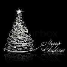 silver christmas silver christmas tree on black background vector eps10
