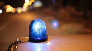 blue light on car warning light and siren of police car stock footage video 1313518