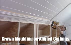 crown moulding on angled ceilings youtube