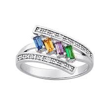 birthstone rings sterling silver s baguette family birthstone ring with