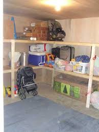 basement storage room with built in shelving