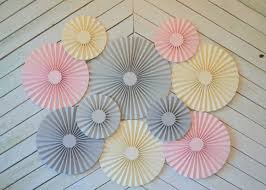paper fans for weddings pink grey and set of 10 ten paper fans rosettes