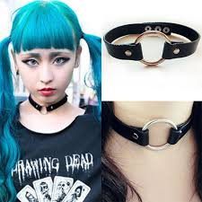 heart collar choker necklace images Black goth punk enchanting leather rivet heart o ring choker jpg