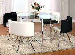 Glass Circular Dining Table Compact Small Glass Kitchen Table Sets Dining Glass Top Dining