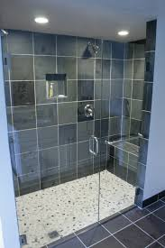 Slate Bathroom Ideas by Interior Glass Shower Room With Black Wall Tile And Stainless