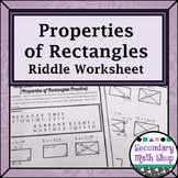 quadrilaterals properties of quadrilaterals riddle worksheet tpt