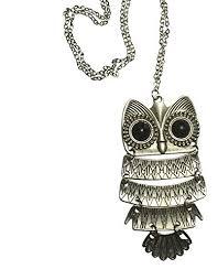 vintage owl necklace jewelry images Vintage owl necklace big retro pendant long silver jpg