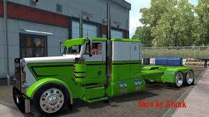 peterbilt 389 green white skin mod american truck simulator