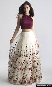 best combination color for white best color combination maroon and white enbroidered lehenga choli