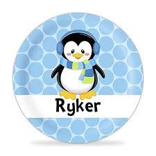 winter penguin plate blue polka dots penguin melamine