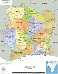 Large World Maps by Large Political And Administrative Map Of Ivory Coast With Roads