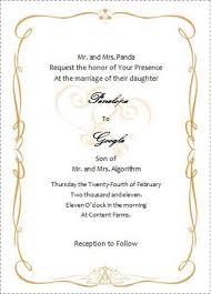 wedding invitation card template word