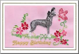 hairless chinese crested dog birthday card embroidered by dogmania