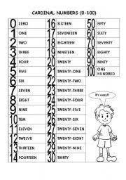 cardinal numbers worksheet numbers pinterest number