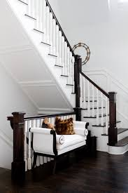 Dark Wood Banister Wood Balusters Staircase Rustic With Black Railing Horizontal
