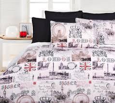 Newsprint Comforter Old London Quilt Doona Duvet Cover Set Bedding Big Ben British
