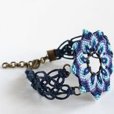 macrame flower bracelet images Macrame mandala flower textile bracelet from knottedworld jpg