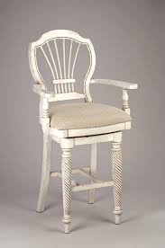 hillsdale wilshire swivel wood bar stool with arms antique white