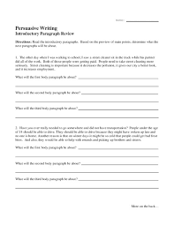 persuasive writing introductory paragraph review 4th 8th grade
