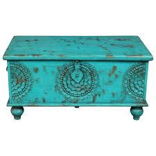 teal hope chest hand carved wood storage trunk coffee table