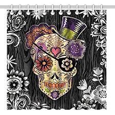 Sugar Skull Bathroom Amazon Com Seasidess Special Designed Sugar Skull Shower Curtains