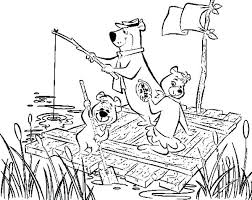 coloring pages of yogi bear yogi bear coloring pages yogi bear and ride wooden raft with boo boo