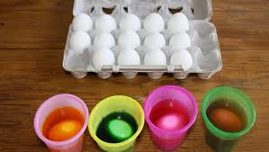 Decorating Easter Eggs Video by Four Colorful Cups Of Egg Dye And Eighteen Eggs To Decorate Stock