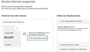 si e suspendu accès suspendu réglement de votre facture assistance orange