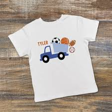 toddler boy shirt blue dump truck tee soccer basketball baseball