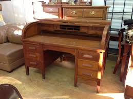 Antique Desk Secretary by Vintage Ivan Allen Roll Top