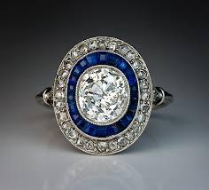 art deco 2 ct diamond calibre sapphire engagement ring antique
