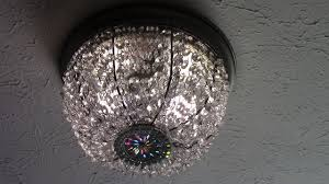 Diy Ceiling Light by Diy Dollar Tree Crystal Basket Flush Mount Ceiling Light Youtube