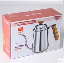 1pcs 0 7L Silver Tea and Coffee Drip Kettle pot with Wooden handle