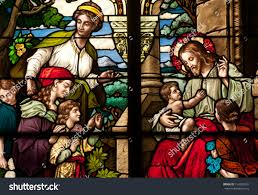 stained glass window depicting bible story stock photo 154303331