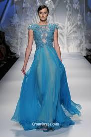 blue transparent long evening gown with lace applique