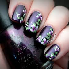 purple flowers nails instagram by kimiko7878 nail art nail