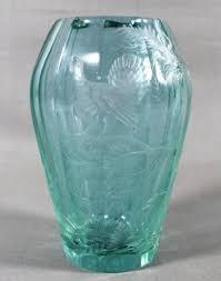 Engraved Glass Vases Two Moser Amethyst Art Glass Vases