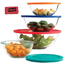 amazon com 8 piece glass mixing bowls with lids glass food