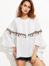 embroidered tape and tassel trim dolman sleeve blouse shein