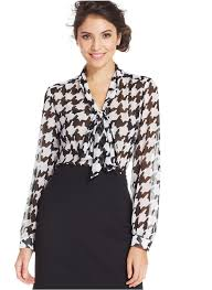houndstooth blouse tahari asl houndstooth tie front blouse where to buy how to wear