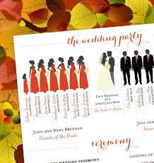 fall wedding programs fall wedding program bridal party silhouettes digital file