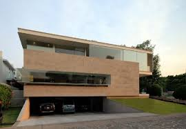 Garage in Basement Design at Contemporary Godoy House in Jalisco