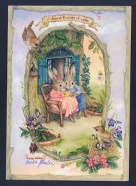 susan wheeler cards susan wheeler rabbit parents play with new baby birthday greeting