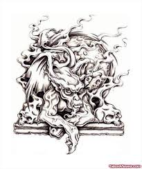 grey ink zombie fantasy tattoo design tattoo viewer com