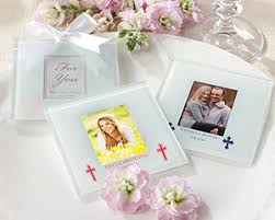 personalized baptism favors glass photo coaster christening and baptism favors by kate aspen
