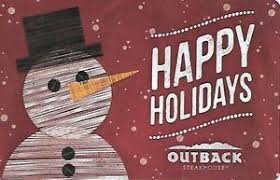 gift card happy holidays outback united states of america