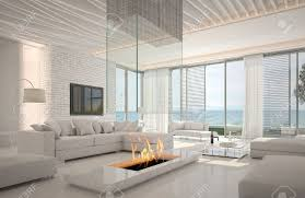 Livingroom Fireplace A 3d Rendering Of White Living Room Interior With Fireplace Stock