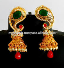 gold jhumka earrings antique jhumka earrings peacock earrings one gram gold jhumka