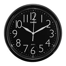 casio black dial round wall clock iq 01 1r clock casio